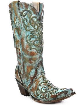 Corral Women's Cord Stitch Cowgirl Boots - Snip Toe, Tan, hi-res