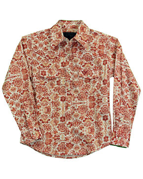 Cowgirl Hardware Girls' Peacock Floral Paisley Print Long Sleeve Western Shirt, Rust Copper, hi-res