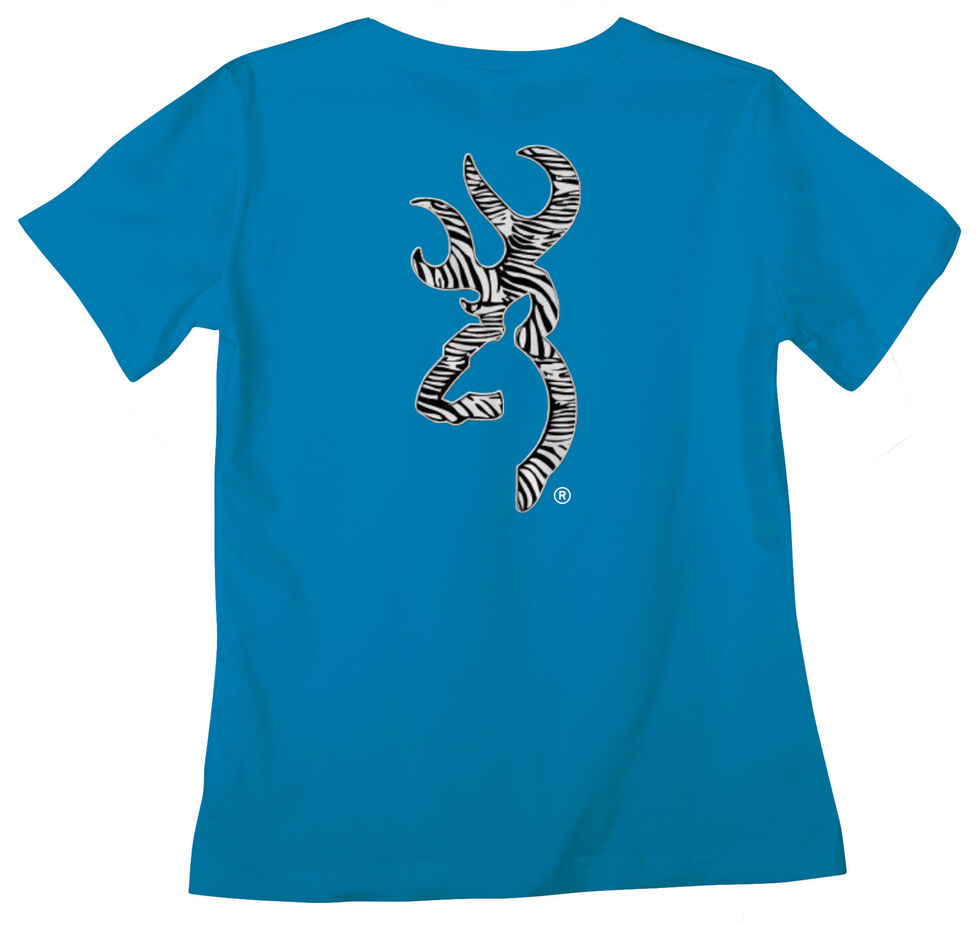 Browning Women's Classic Fit Zebra Blue T-Shirt, Blue, hi-res