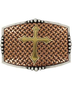 Nocona Men's Copper Basketweave With Cross Belt Buckle , Multi, hi-res