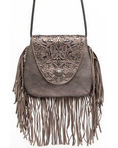 Shyanne Women's Glitter Inlay Fringe Crossbody Bag, Medium Grey, hi-res