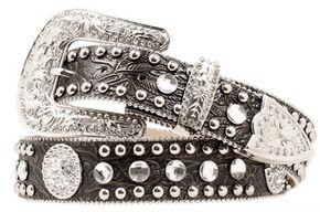 Blazin Roxx Floral Embossed Concho Studded Belt, Black, hi-res