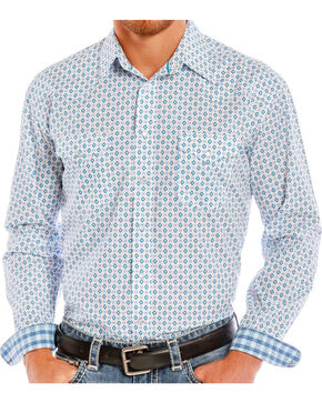 Rough Stock Men's White Geo Pattern Long Sleeve Western Shirt , White, hi-res