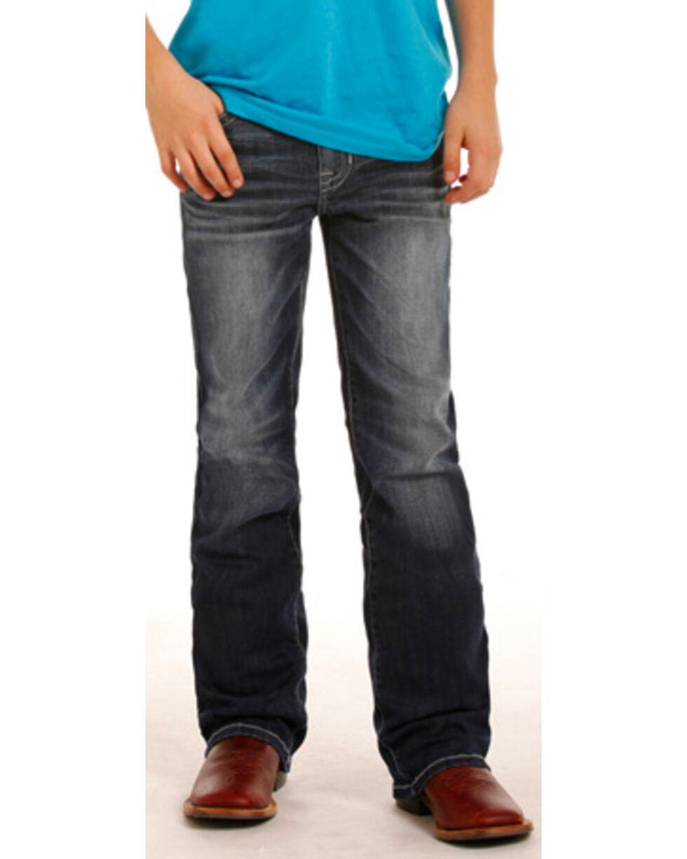 Rock & Roll Cowboy Boys' BB Gun Reflex Silver Rivets Regular Fit Boot Cut Jeans, Indigo, hi-res