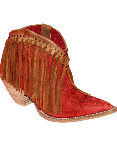 Abilene Women's Brown Fringe Booties - Pointed Toe , Red, hi-res