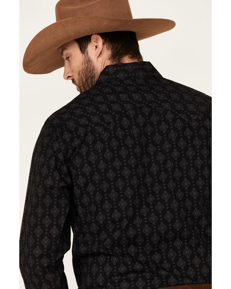 Rock & Roll Denim Men's Black Medallion Print Long Sleeve Western Shirt , Black, hi-res