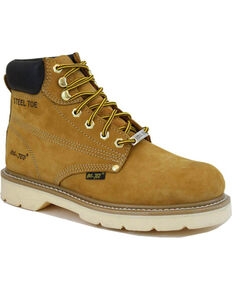 "Ad Tec Men's Nubuck Leather 6"" Work Boots - Steel Toe, Tan, hi-res"