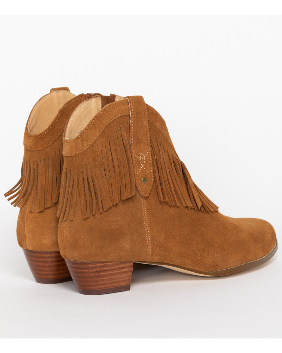 Shyanne Women's Fringe Suede Booties - Round Toe, Brown, hi-res
