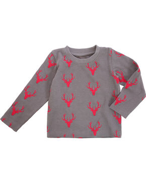 Wrangler Infant Boys Deer Print Tee , Grey, hi-res