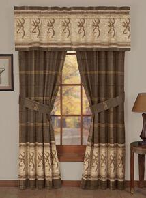 Browning Buckmark Rod Pocket Curtains, Brown, hi-res