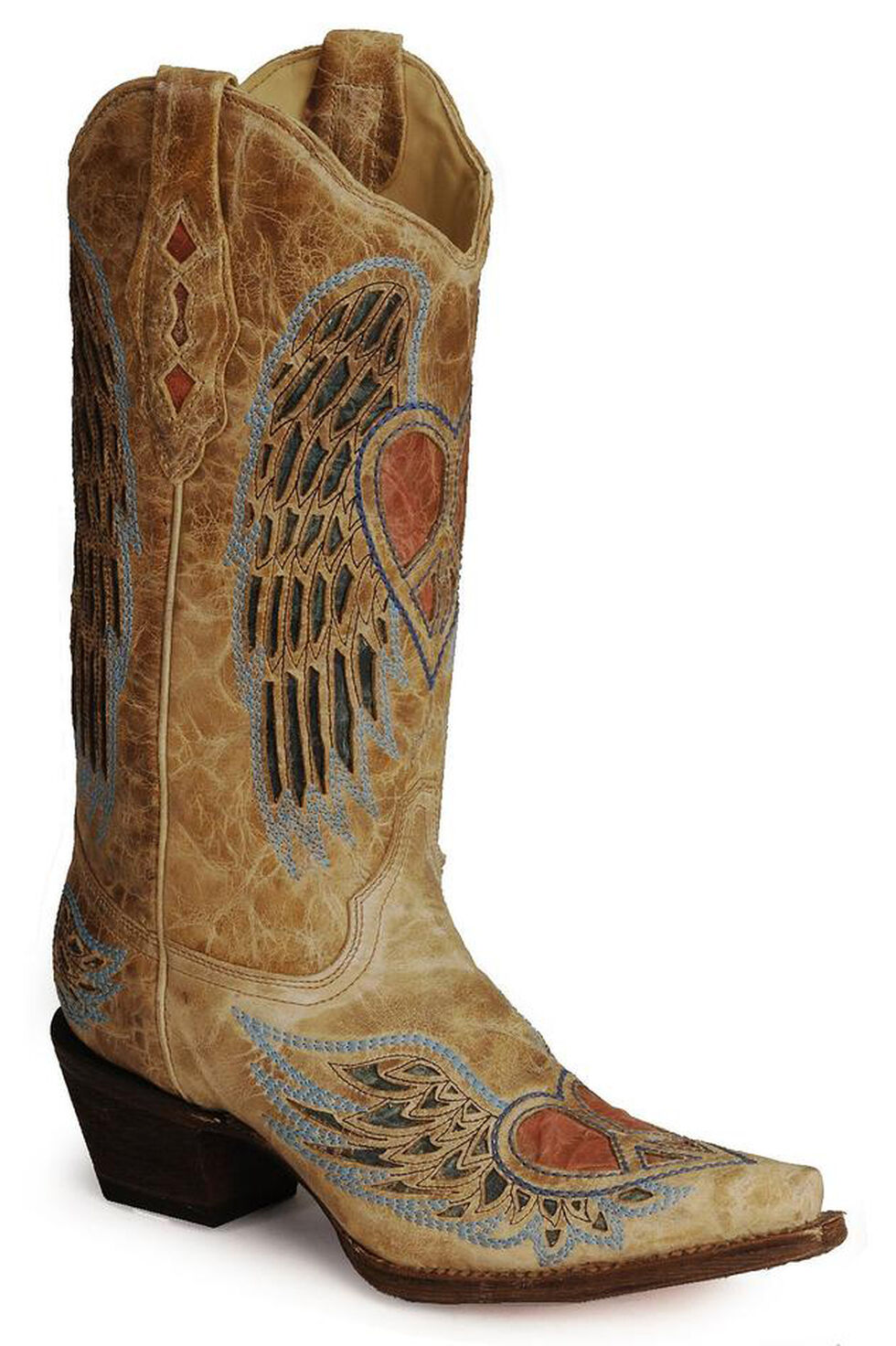 Corral Heart Angel Wing Cowgirl Boots - Snip Toe, Antique Saddle, hi-res