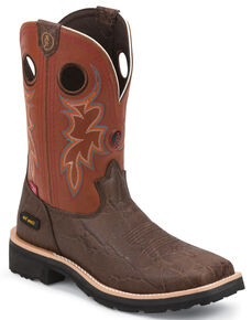 Tony Lama Walnut Elephant Print 3R Western Work Boots - Composite Toe , Walnut, hi-res