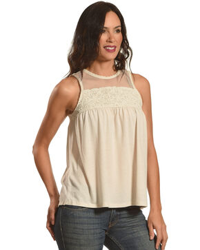 Eyeshadow Clothing Women's Crochet Lace Sleeveless Top, Cream, hi-res
