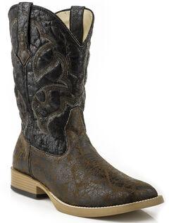 Roper Men's Distressed Broad Boots - Square Toe, Black, hi-res