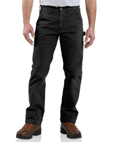 Carhartt Washed Twill Dungaree Relaxed Fit Work Pants, Black, hi-res
