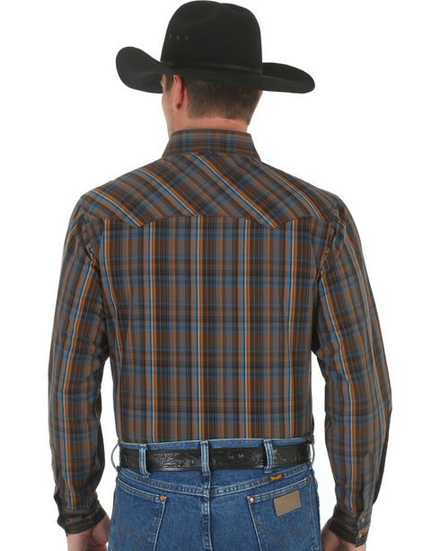 Wrangler Men's Brown & Blue Plaid Fashion Snap Shirt, Brown, hi-res
