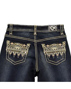 Cowgirl Hardware Girls' Aztec Sequin Pocket Denim Jeans , Blue, hi-res