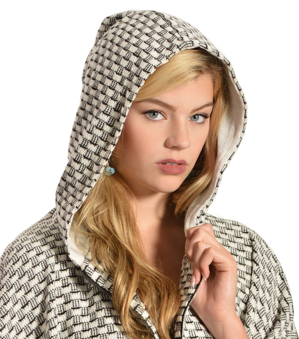Flying Tomato Women's Knit Hooded Cape, Ivory, hi-res