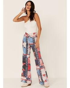 Wrangler Women's Patchwork High Rise Flare Jeans, Multi, hi-res