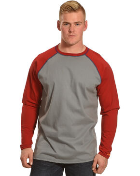 Wrangler Men's Red FR Flame Resistant Knit Baseball Tee, Red, hi-res