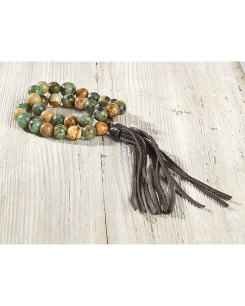 Jewelry Junkie Women's African Turquoise and Picture Jasper Bracelet , Green, hi-res