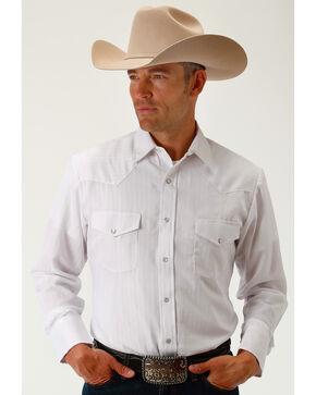 Roper Men's White Tone On Tone Stripe Long Sleeve Western Snap Shirt, White, hi-res
