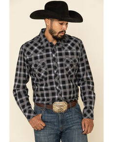 Rock & Roll Denim Men's Black Med Plaid Long Sleeve Western Shirt , Black, hi-res