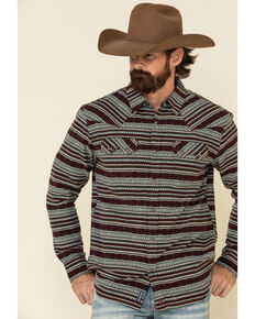 Moonshine Spirit Men's Firewater Jackard Striped Long Sleeve Western Flannel Shirt , Multi, hi-res