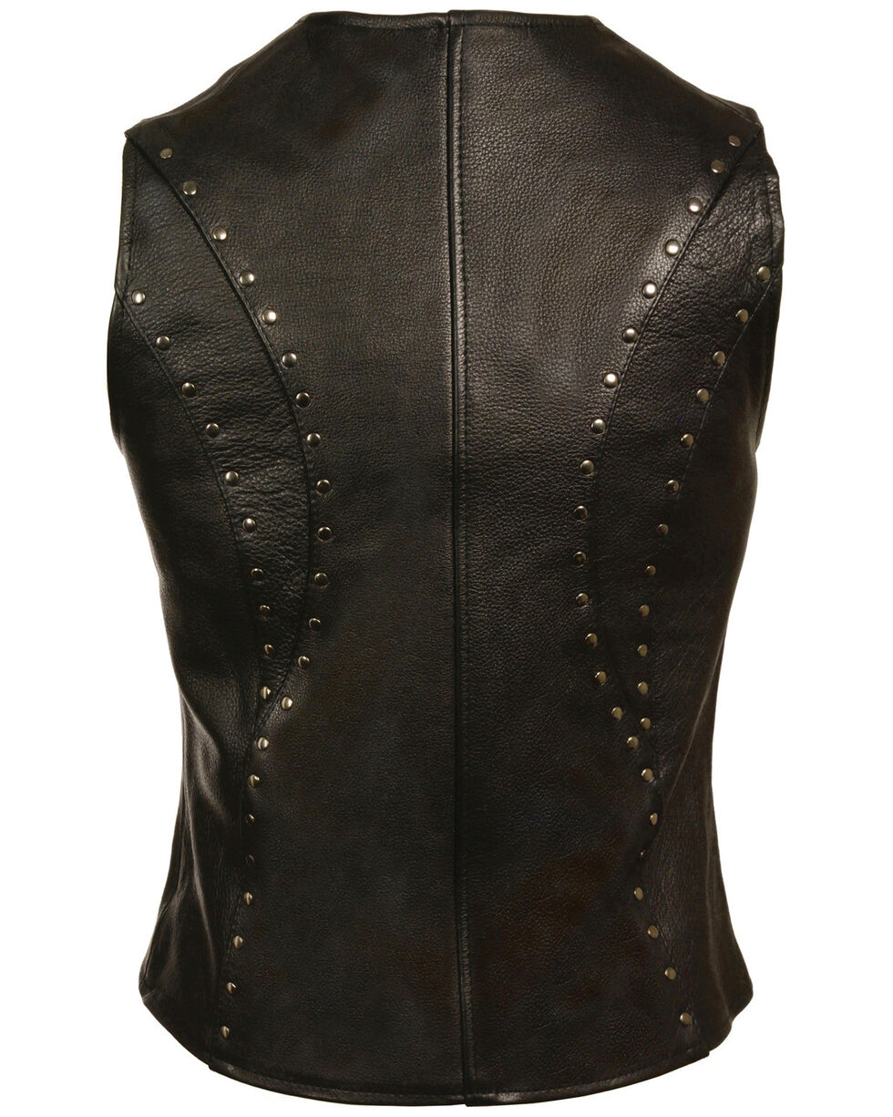 Milwaukee Leather Women's Studded Zip Front Vest - 5X, Black, hi-res