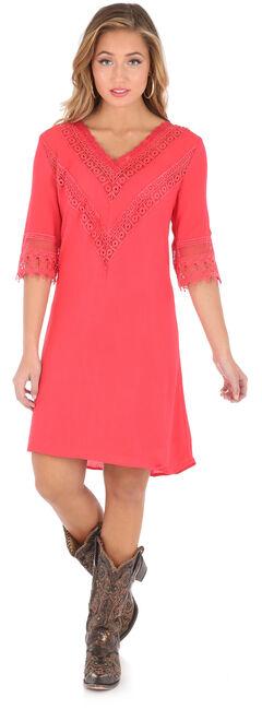 Wrangler Women's Red V-Neck Crochet Trim Dress , Red, hi-res