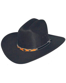 00c37ea9bc7 Western Express Mens Black Faux Felt Cowboy Hat