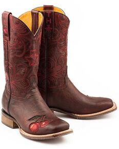 Tin Haul Women's Monster Cherry Western Boots - Wide Square Toe, Red, hi-res