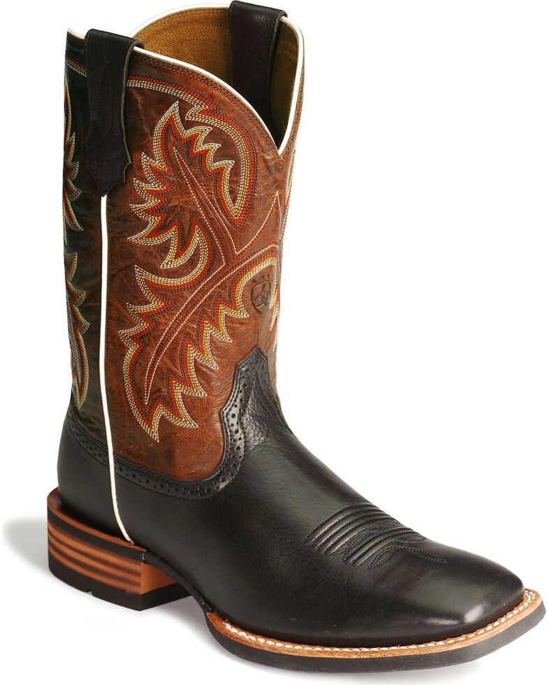"Ariat Men's Quickdraw 11"" Western Boots - Square Toe, Black, hi-res"