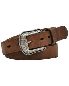 M & F Western Kids' Brown Leather Belt , Brown, hi-res