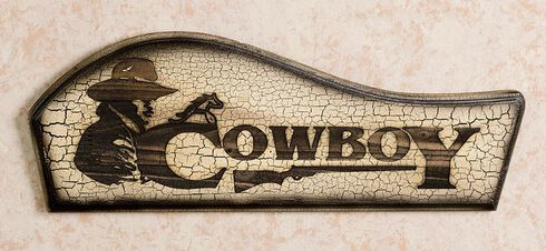Wooden Cowboy Wall Sign, Brown, hi-res