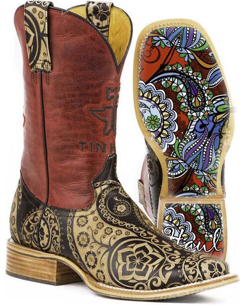Tin Haul Women's Artful Paisley Cowgirl Boots - Square Toe, Tan, hi-res