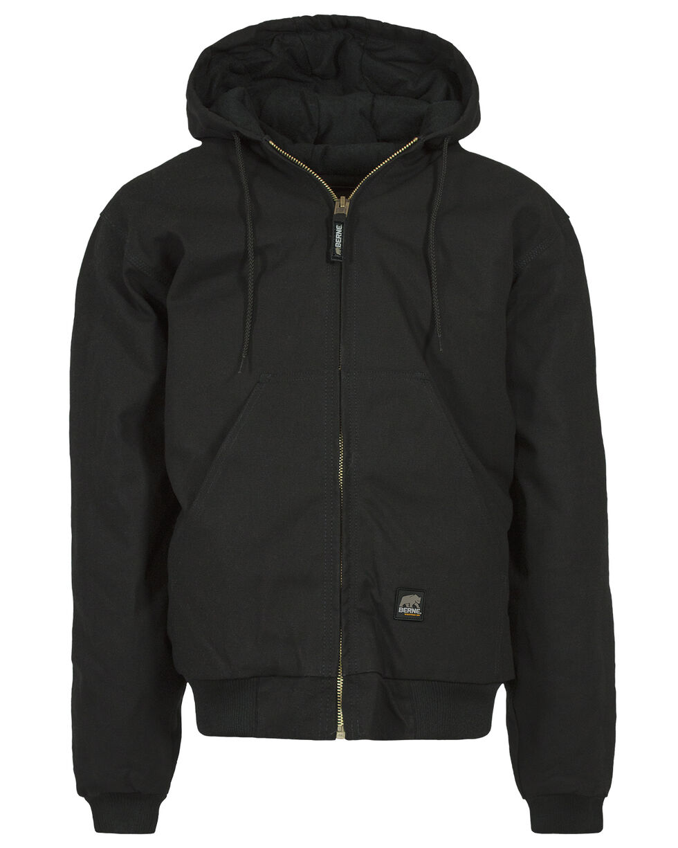 Berne Brown Duck Original Hooded Jacket - Big and Tall, Black, hi-res