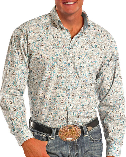 Tuf Cooper Performance Men's Blue Paisley Long Sleeve Shirt, White, hi-res