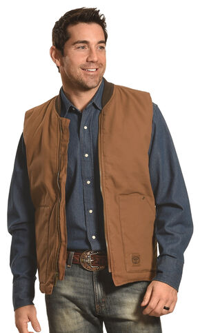 Forge Workwear Men's Brown Canvas Vest , Brown, hi-res
