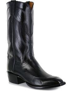 Lucchese Men's Handmade Black Kangaroo Leather Western Boots - Square Toe, Black, hi-res
