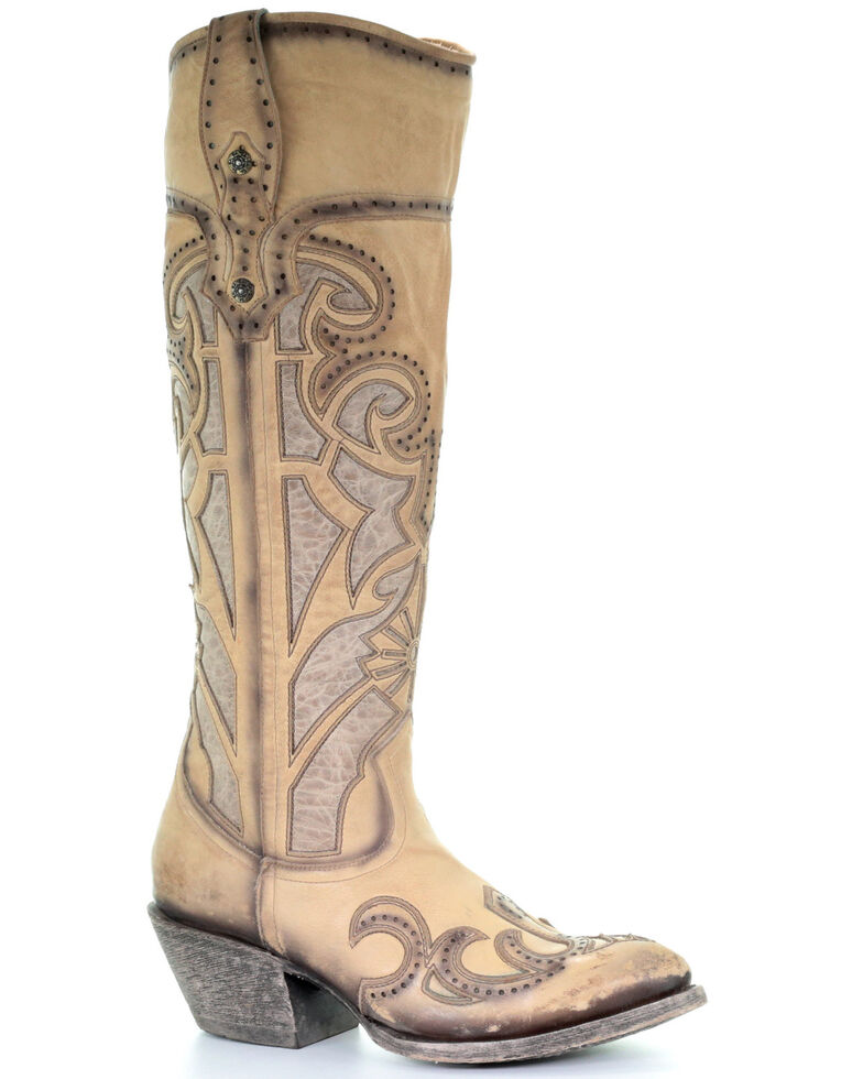 Corral Women's Beige Laser Cutout Western Boots - Snip Toe, Beige/khaki, hi-res