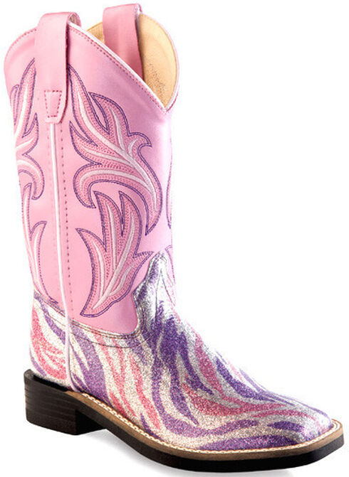 Old West Girls' Pink and Purple Western Boots - Square Toe, Multi, hi-res