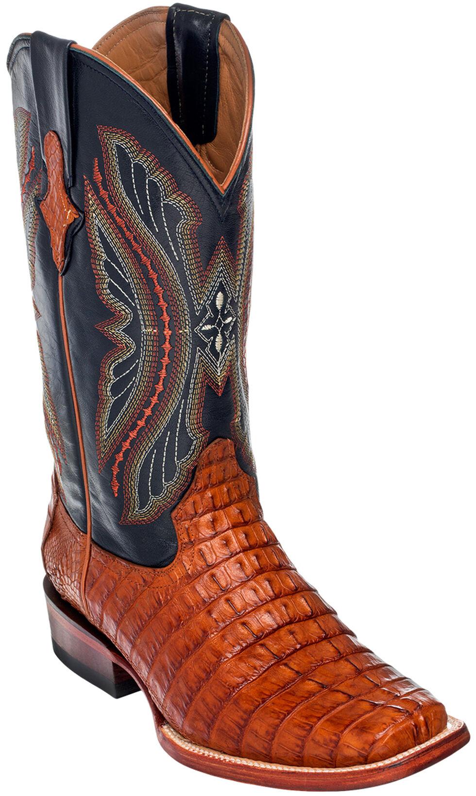 Ferrini Caiman Tail Exotic Cowboy Boots - Wide Square Toe, Cognac, hi-res