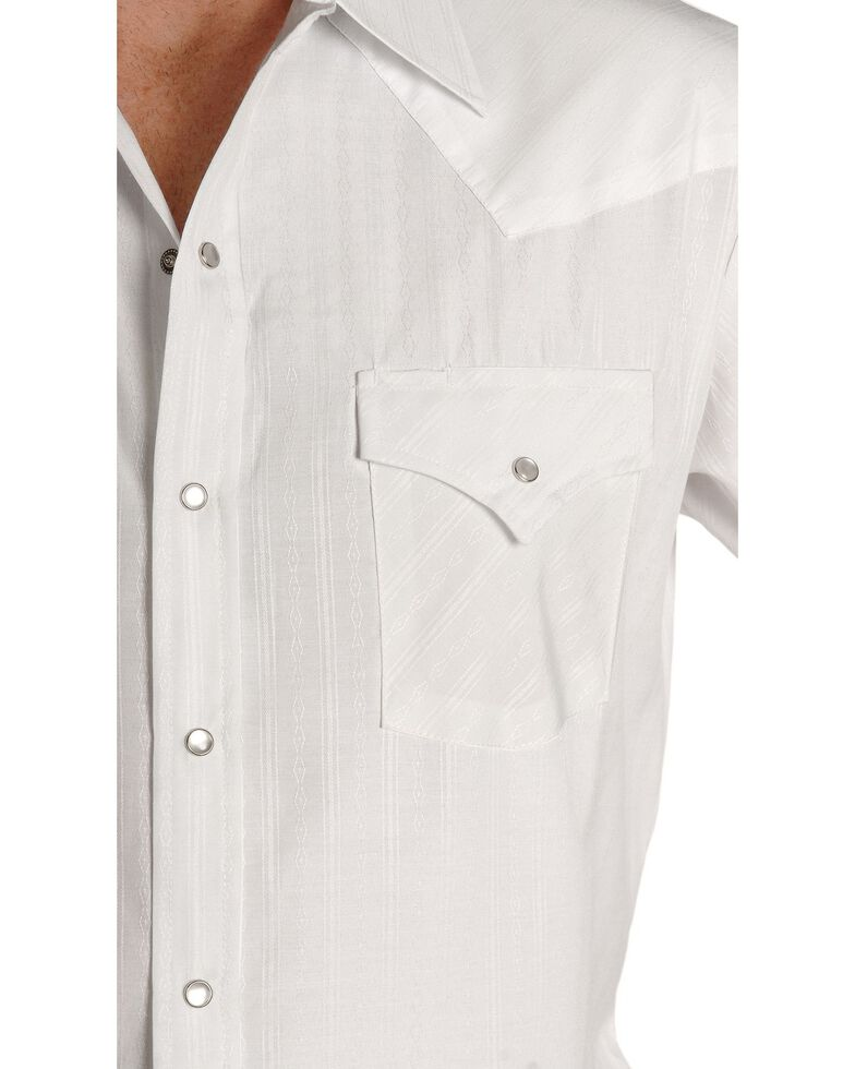 Ely Walker Men's Tonal Dobby Striped Short Sleeve Western Shirt, White, hi-res