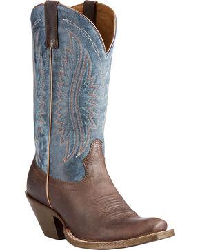 Ariat Women's Circuit Salem Buckaroo Brown/Denim Cowgirl Boots - Square Toe, Brown, hi-res