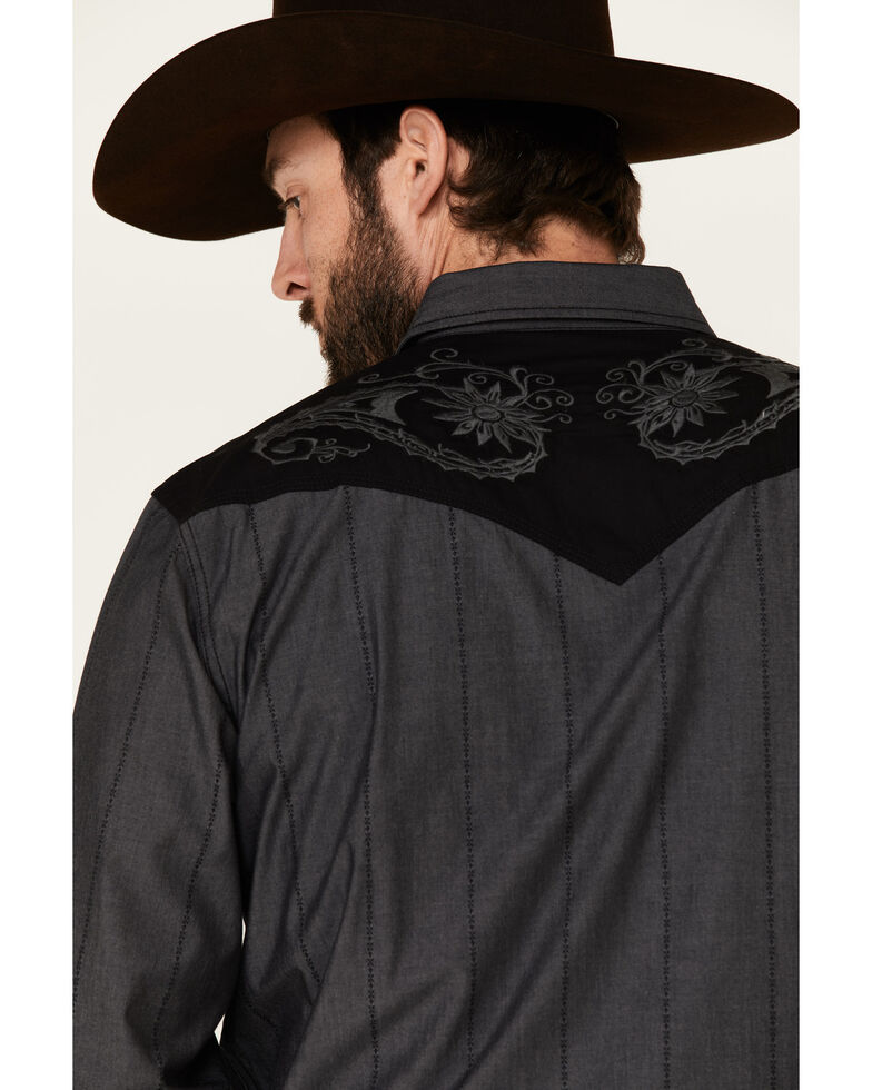 Moonshine Spirit Men's Rock Star Embroidered Long Sleeve Western Shirt, Charcoal, hi-res