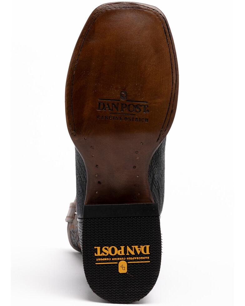 Dan Post Men's Navy Ostrich Western Boots - Wide Square Toe, Brown, hi-res