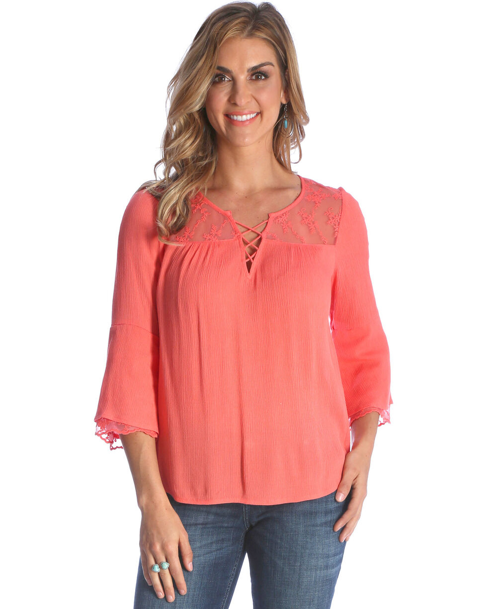 Wrangler Women's Coral Peasant Top , , hi-res