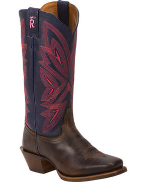 Tony Lama Tobacco Faro 3R Western Cowgirl Boots - Square Toe , Brown, hi-res