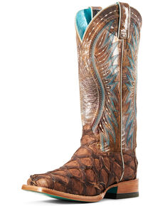 Ariat Women's Vaquera Exotic Pirarucu Western Boot - Wide Square , Brown, hi-res